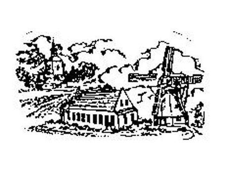 Gezeichnetes Logo mit Mühle, Haus und Kirche