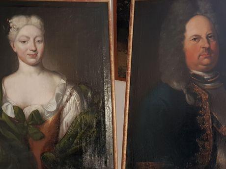 Alte Gemälde mit dem alten Häupftlingspaar